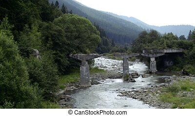 river flows over rocks in this beautiful scene in the Carpathian mountains in summer