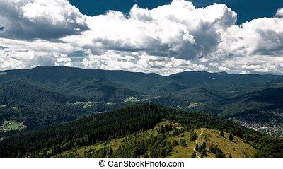 mountain landscape timelapse in Carpathian.