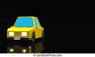 Yellow Car On Black Text Space. Loop able 3DCG render...