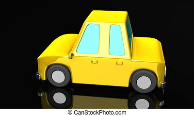 Yellow Car On Black Background. Loop able 3DCG render...