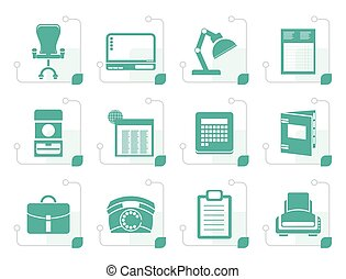 Stylized Simple Business, office and firm icons
