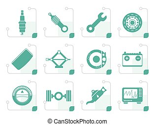 Stylized Realistic Car Parts and Services icons - Vector...