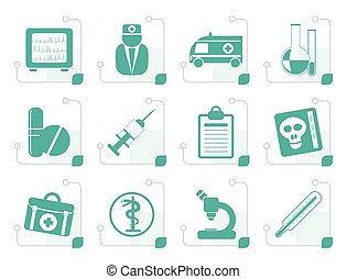 Stylized Medical and healthcare Icons Vector Icon Set