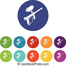Paintball marker set icons in different colors isolated on...