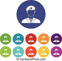 Modern army soldier set icons in different colors isolated...