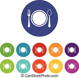 Place setting with plate,spoon and fork set icons in...