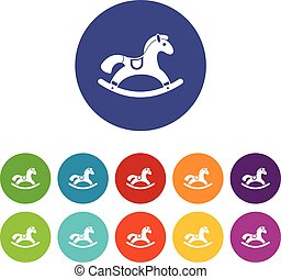 Rocking horse set icons in different colors isolated on...