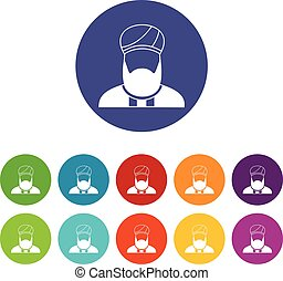 Muslim preacher set icons in different colors isolated on...