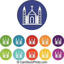 Christian catholic church building set icons