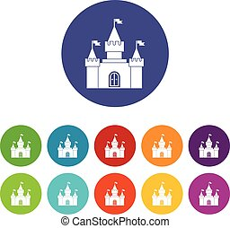 Fortress set icons in different colors isolated on white...