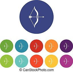 Bow and arrow set icons in different colors isolated on...