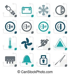 Stylized Car Dashboard icons -  vector icons set