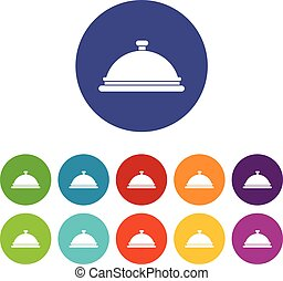 Restaurant cloche set icons in different colors isolated on...