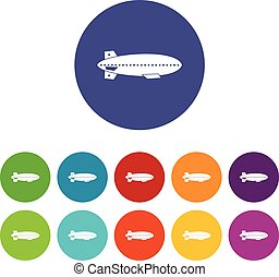 Dirigible balloon set icons in different colors isolated on...