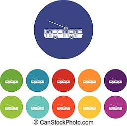 Trolleybus set icons in different colors isolated on white...