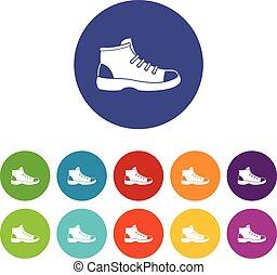 Tourist shoe set icons