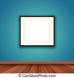 blank picture frame in room interior