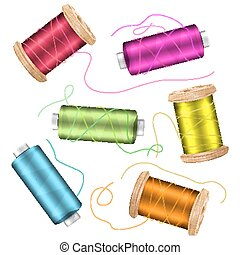 Thread Spool Set Background. For Needlework And Needlecraft. Stock Vector Illustration Of Yarn Or Cotton Bobbin Reels. Isolated On White