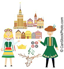 the poland set - illustration in style of flat design on the...