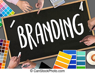 Business Branding , Branding word , Brand Building concept , Businessman Brainstorming About Branding Strategy to Business , Style Image new Rebrand Change Identity Branding
