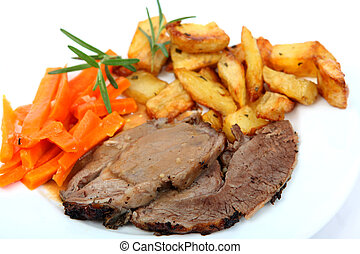 Roast lamb with potatoes and carrots