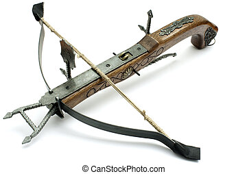 crossbow - old wood crossbow isolated in white background