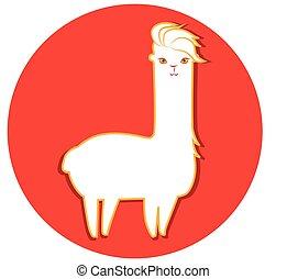 Lama Yarn Sticker - Lama and Lama Yarn Concept Design. EPS 8...
