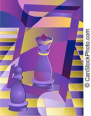 chess pawn and queen in mirror. 10 EPS
