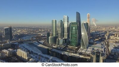Business center Moscow City in the winter day aerial 4k...