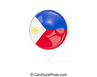 Round white pin with flag of philippines isolated on white....