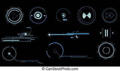 Blue Futuristic Interface Elements - Three screens...