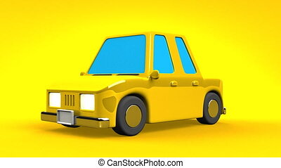Yellow Car On Yellow Background. Loop able 3DCG render...