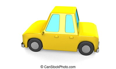 Yellow Car On White Background. Loop able 3DCG render...