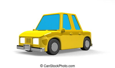 Yellow Car On White Background