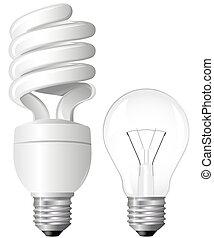 Two Light Bulbs - Efficient Compact Fluorescent Light Bulb