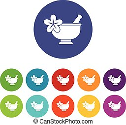 Mortar and pestle pharmacy set icons in different colors...