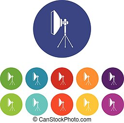 Studio lighting equipment set icons in different colors...