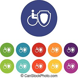 Wheelchair and safety shield set icons in different colors...