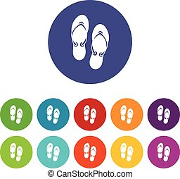 Flip flop sandals set icons in different colors isolated on...