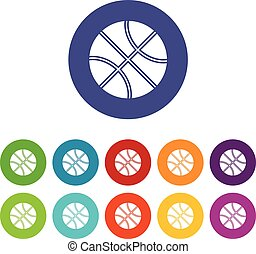 Basketball ball set icons in different colors isolated on...