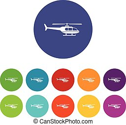 Military helicopter set icons in different colors isolated...