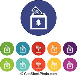 Donation box set icons in different colors isolated on white...