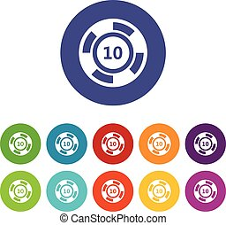 Casino chip set icons in different colors isolated on white...