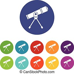 Space telescope set icons in different colors isolated on...