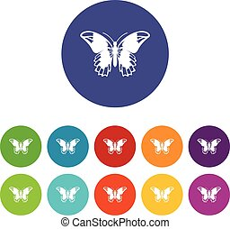 Admiral butterfly set icons in different colors isolated on...