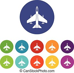 Armed fighter jet set icons in different colors isolated on...