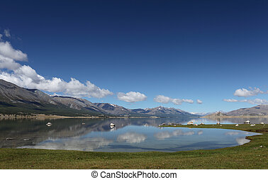 Mountain Lake landscape - Khoton Nuur lake Khoton in...