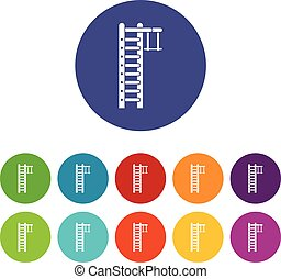 Swedish ladder set icons in different colors isolated on...