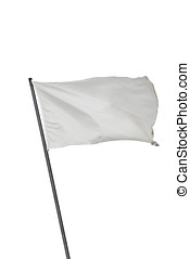 White flag isolated - White flag waving on the wind....