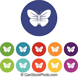 Black butterfly set icons in different colors isolated on...